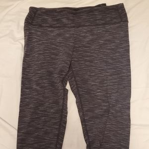 Grey striped Workout Capri Leggings Tuff Athletics